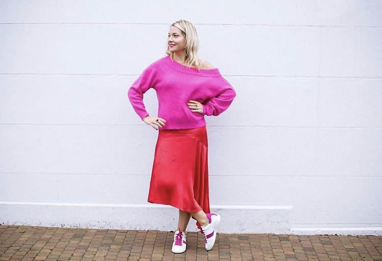 Who knew a satin skirt would work so well with trainers and a jumper? @dresslikeamum
