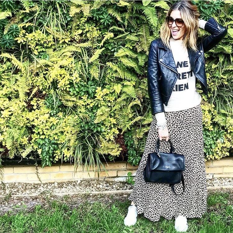 Maxi skirt, slogan tee, trainers and biker jacket are always a winning style formula