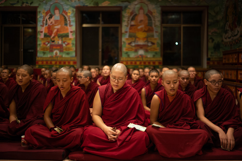 Buddhist nuns at Kopan Nunnery in Kathmandu (Nepal). Proceeds of Miles' book go to the nunnery