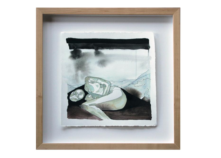 Drumlin watercolor gouache and ink painting landscape sleeping giants andrea durfee.jpg