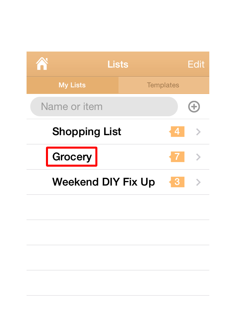 "Here you have your Shopping Lists. Lets start with one of the sample lists, pick ""Grocery Shopping"" ."