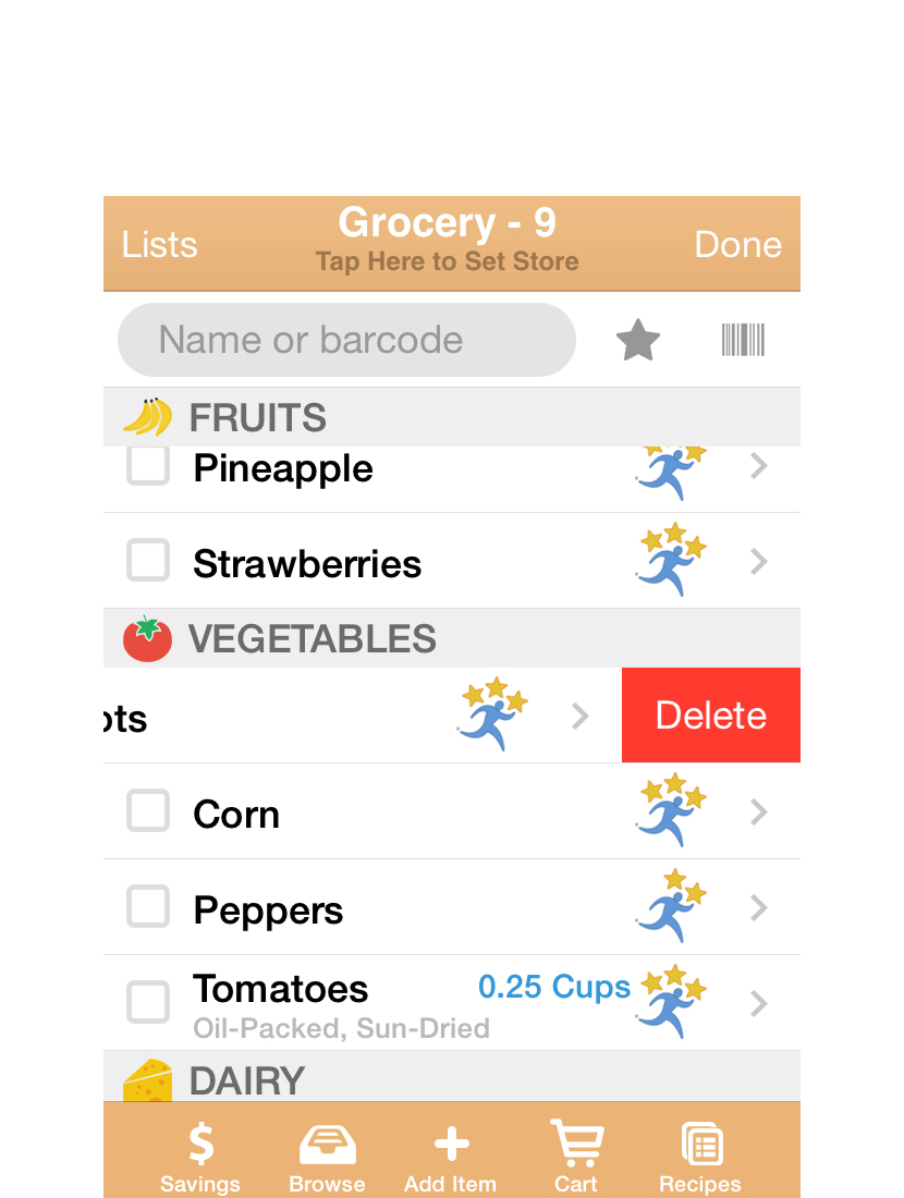 If you need to delete from your list, simply swipe over the name of the item, and a Delete button will appear.