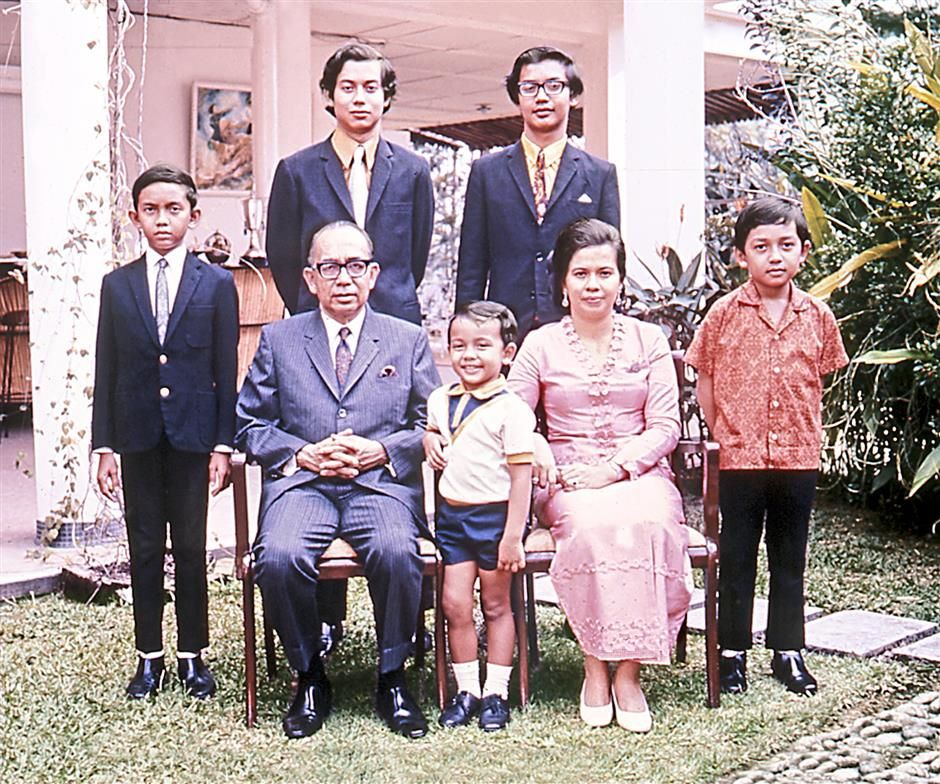 The late Tun Razak and his family. Photo credits: The Star