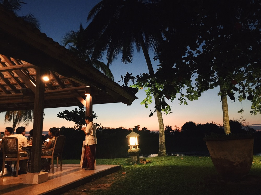 Sunset dinner at a Balinese-styled restaurant.
