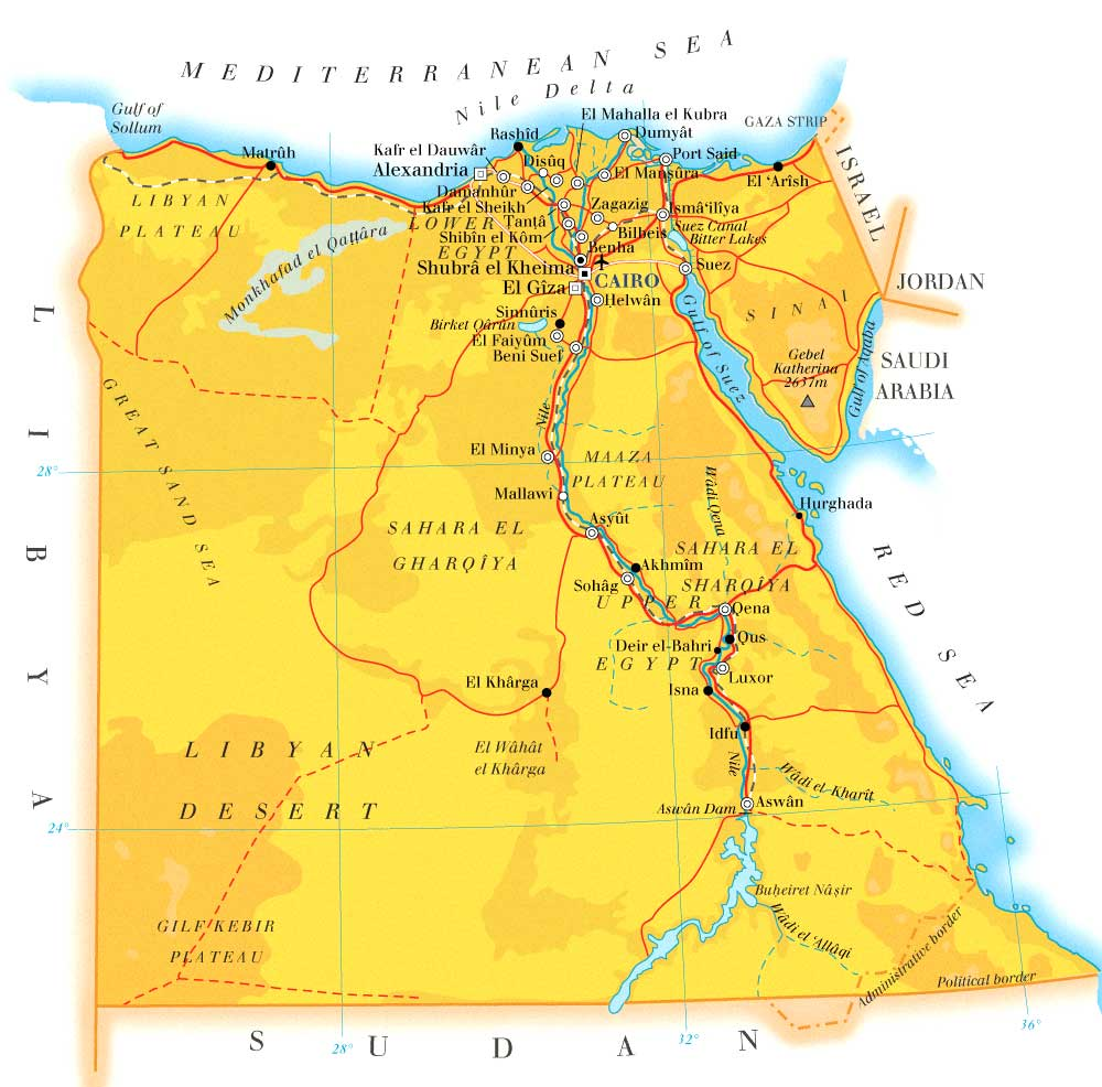 Map of Egypt with the sites along the nile