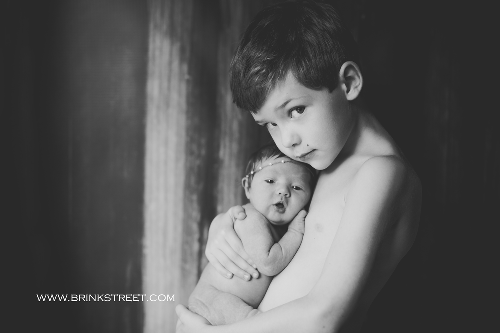 older brother and newborn photo