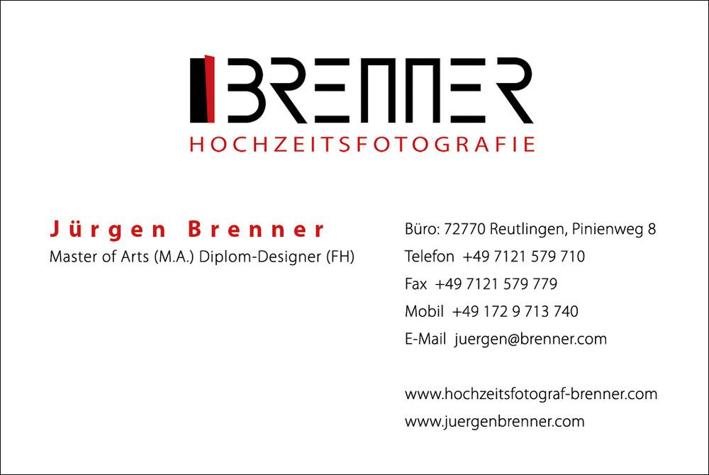 Vorderseite Visitenkarte Hochzeitsfotograf-Brenner