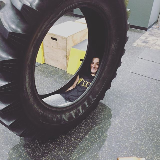 Maria is gonna start her own training style, tractor tire training system. #havingfun #trainmorefearless #thetire