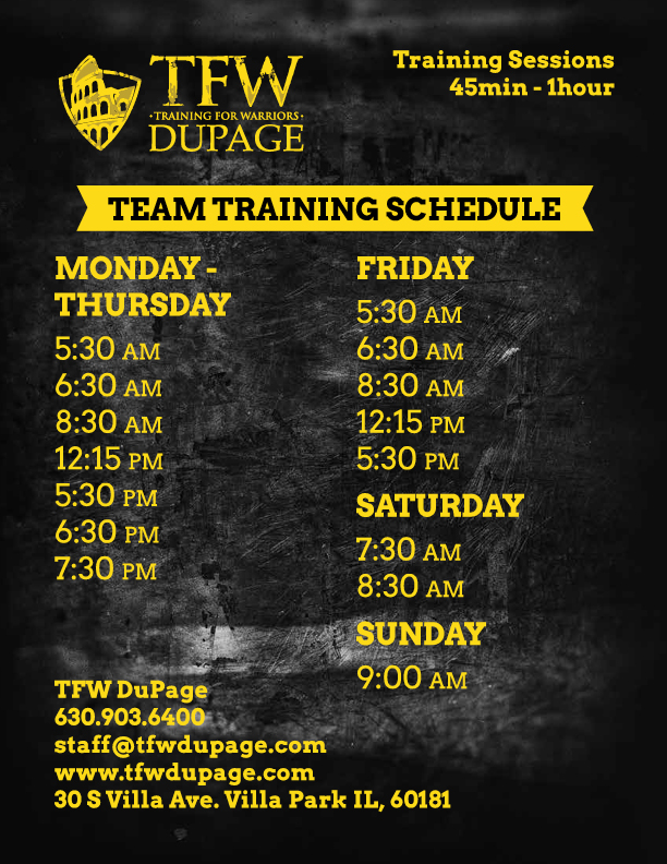 tfw dupage winter schedule