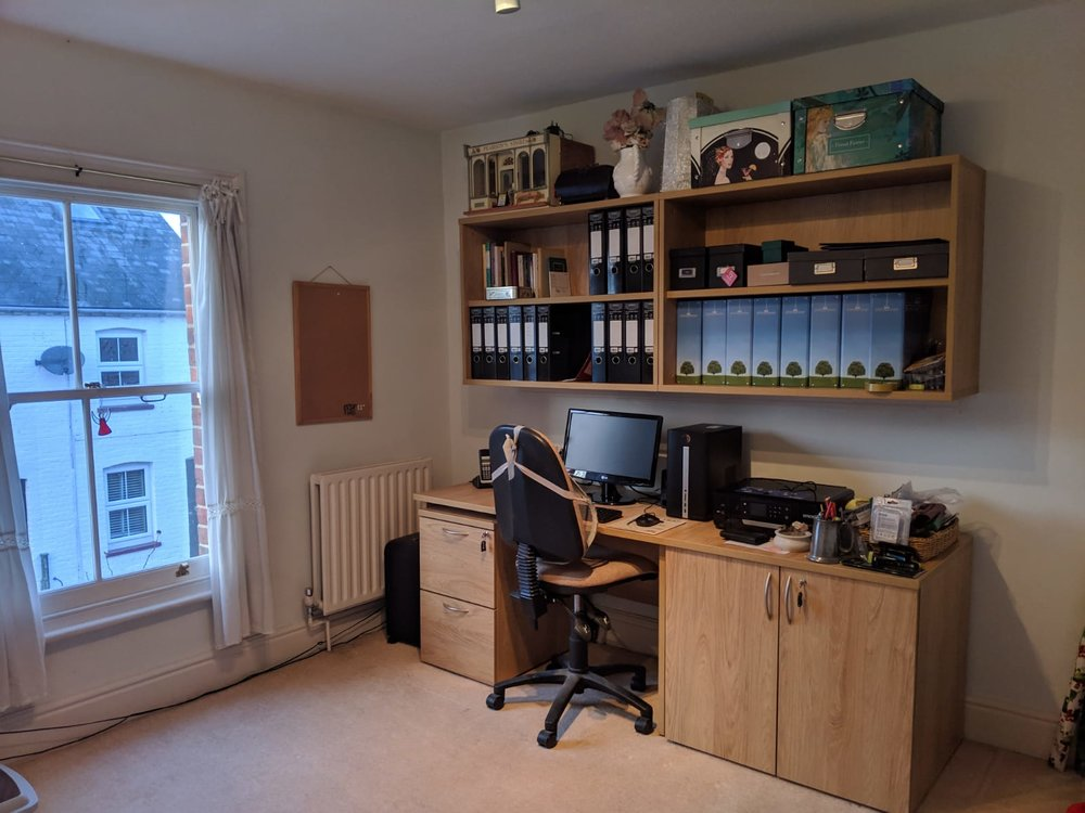 Using Tangent furniture, we refurbished this home office to include a new desk and storage.