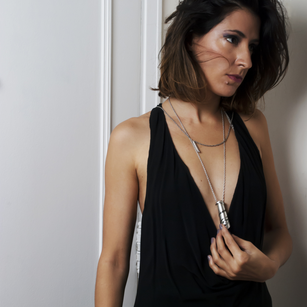 Natalia wearing the Silver Flacon Necklace ~ Frassaï ~ The Olfactive interview