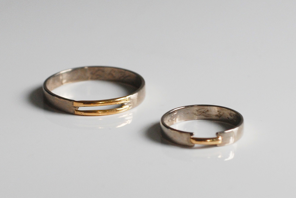 FRASSAI promise rings in 18k white and yellow gold