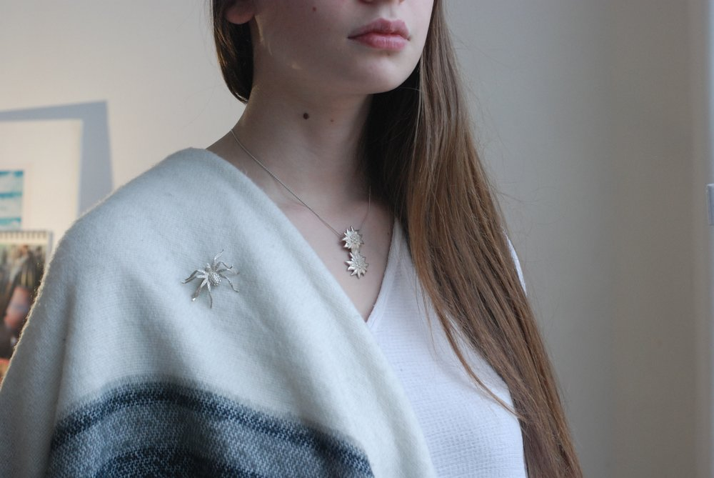 Frassai aracne brooch and edelweiss necklace