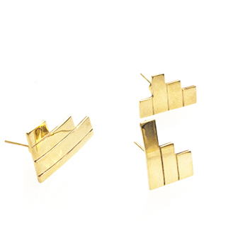 Frassaï asymmetrical gold earring trio