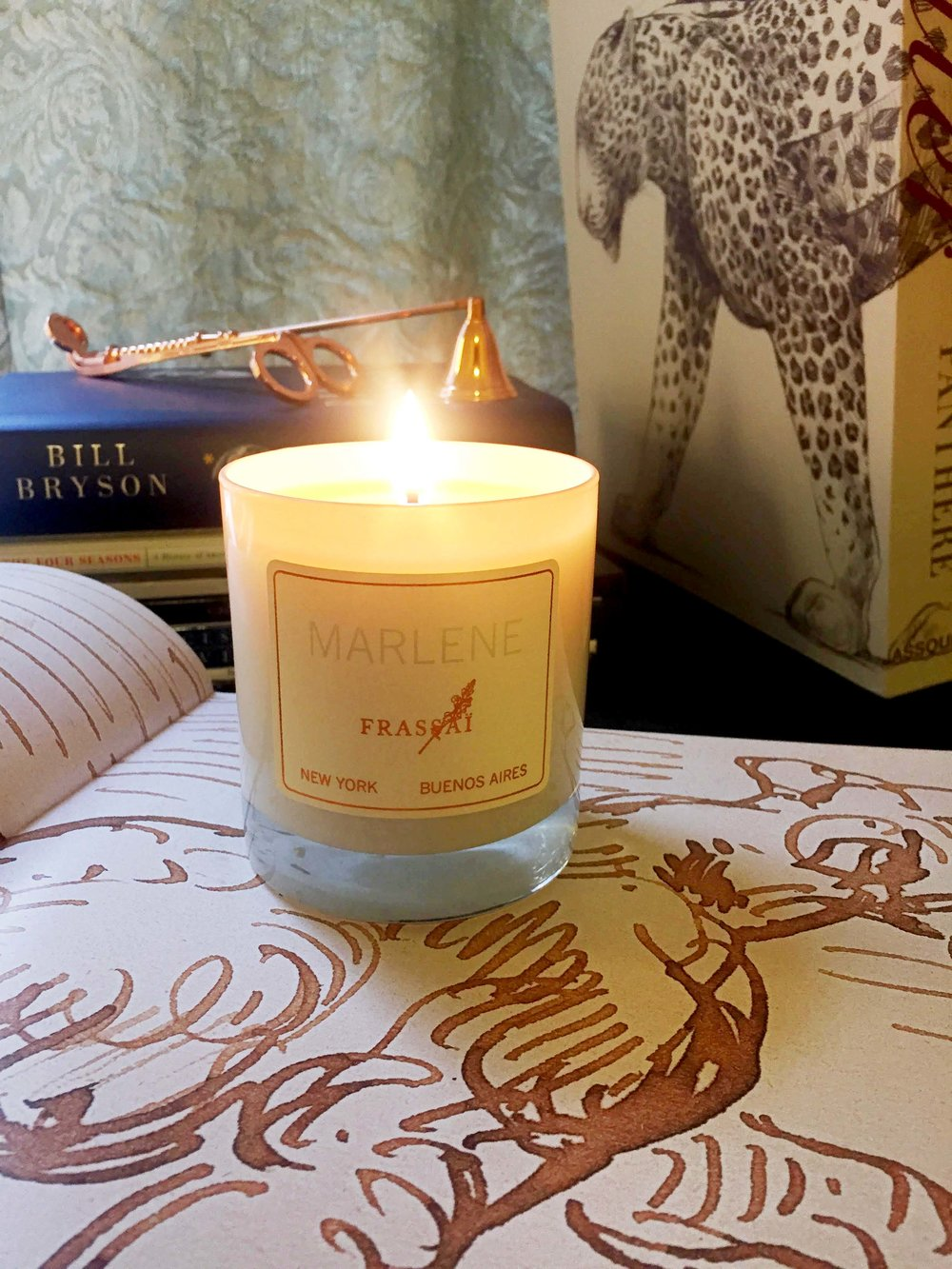 Marlene scented candle ~ dark oak, narcissus, aged Scotch whisky, Vuelta Abajo tobacco, leather, vanilla cream