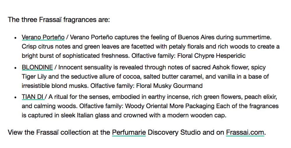 Frassaï perfume collection Verano Porteño, Blondine, Tian Di