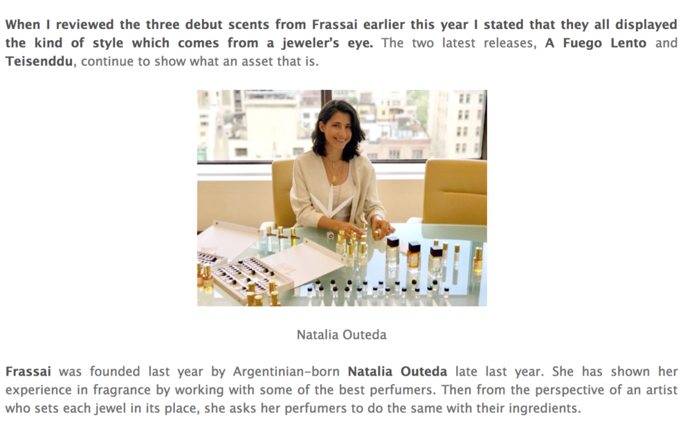 Frassai perfume review by Colognoisseur - Natalia Outeda