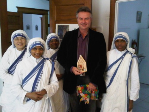 Visit to Missionaries of Charity on December 22, 2010. Michael Steele receives gift from the Sisters.
