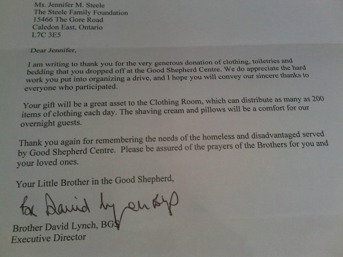 Letter from Good Shepherd to The Steele Family Foundation.