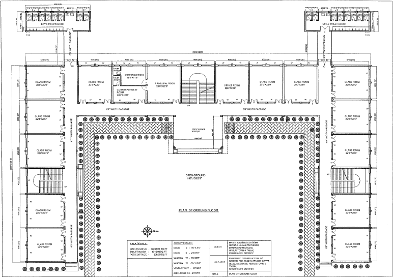 Blueprint for the ground floor of the school.