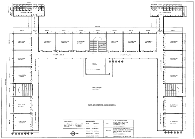 Blueprint for the second and third floors of the school.