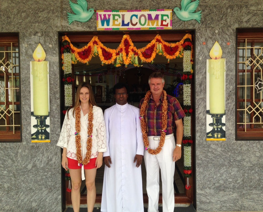 Jennifer Steele, Father Peri of Sacred Trust (a registered charity in Dharmapuri, India), and Micheal Steele.