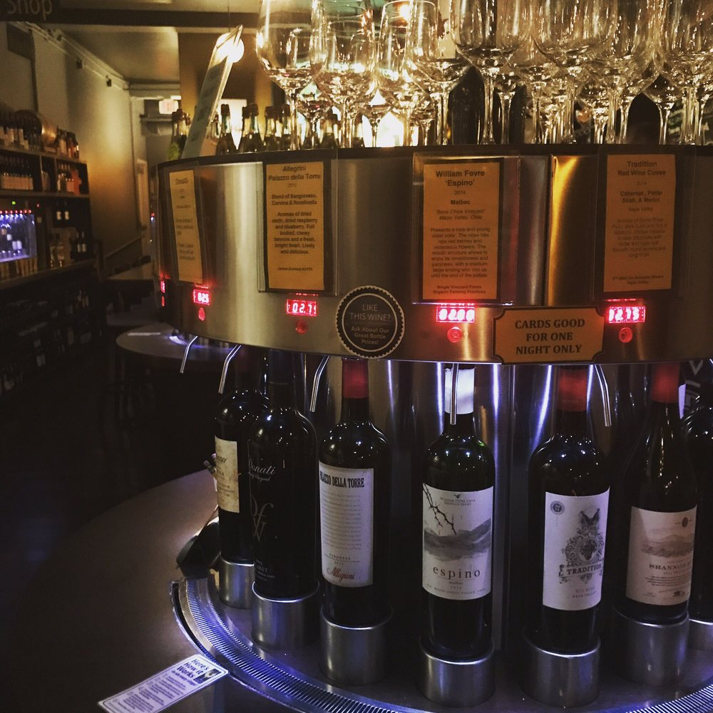 Splash Wine Bar's Rotating Wine Spouts. Photo credit:  Yelp