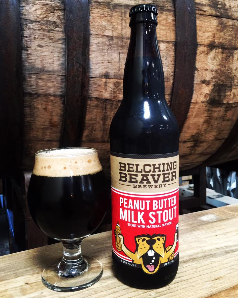 The most popular Belching Beaver beer, the Peanut Butter Milk Stout.  Photo credit:  Belching Beaver Brewery