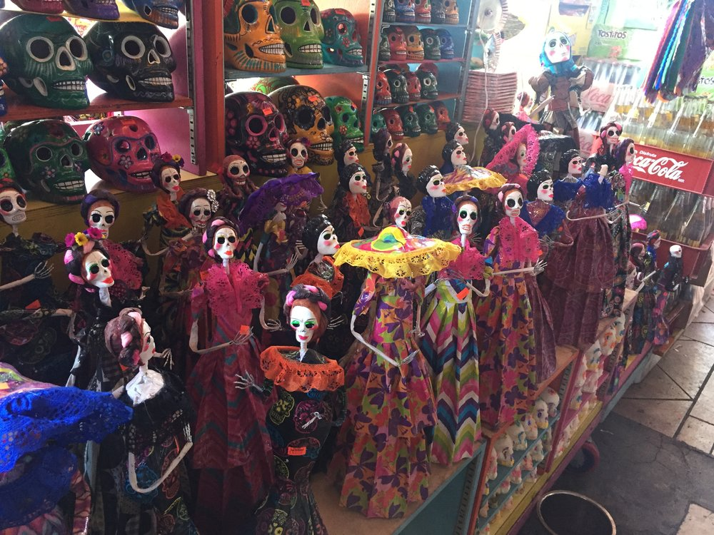 Day of the Dead decorations at the Mercado Hidalgo market in Tijuana