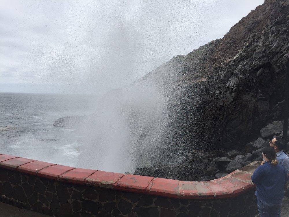 The famous ocean blowhole of Ensenada called La Bufadora