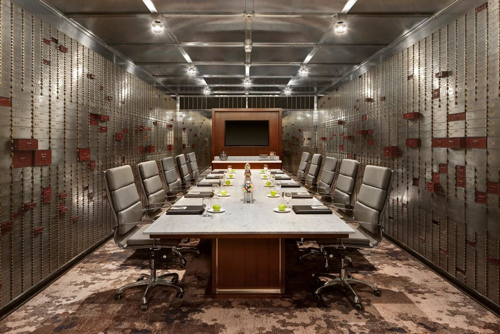 This conference room was once an old safety deposit issue. Reserve it for your next conference or meeting. Photo credit:  Courtyard by Marriott San Diego Downtown