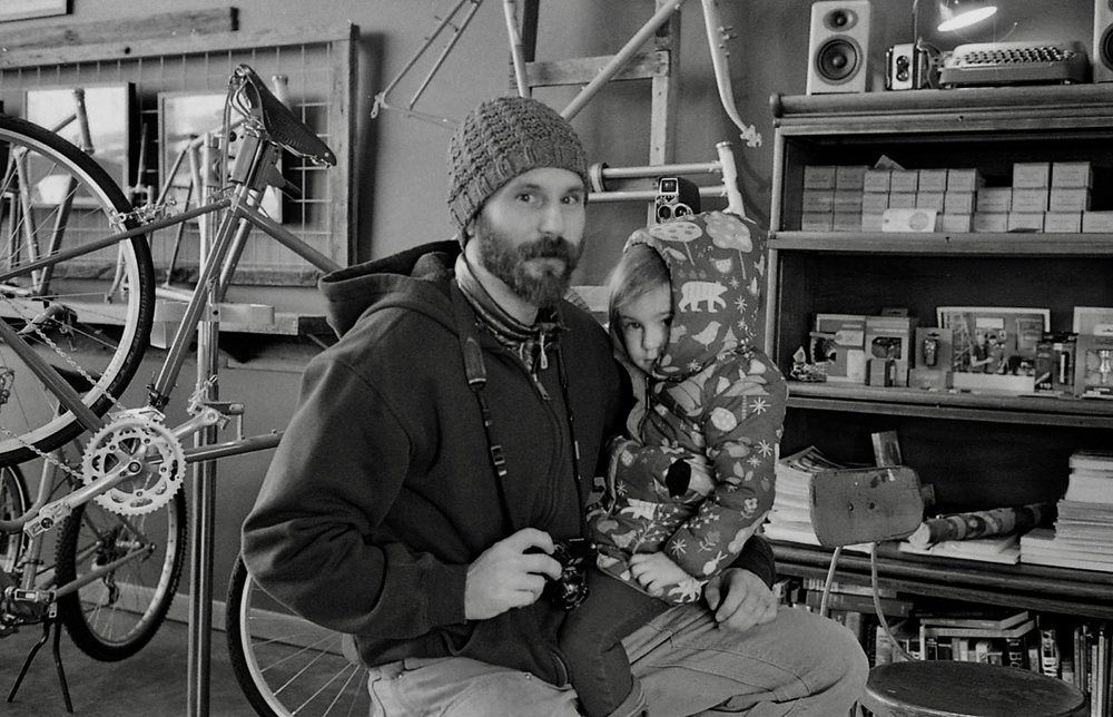 Always good to talk to Ben (here with his Leica M6 and daughter, Alma Bea). Saturday, February 16, 2019.