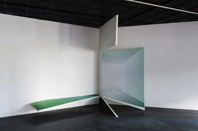 Untitled (Shifting Spaces), installation view, 2012 Digital print on vinyl, Sheet rock, Wood, Paint 12' x 10' x 40' Pro Arts Gallery *Photo by Chris Fraser *Structure fabrication by Mark Taylor