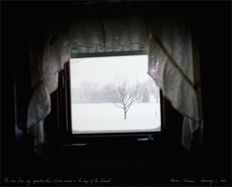 Caption:The view from my grandmother's window on the day of her funeral. Marion, Indiana. January 1, 1999.