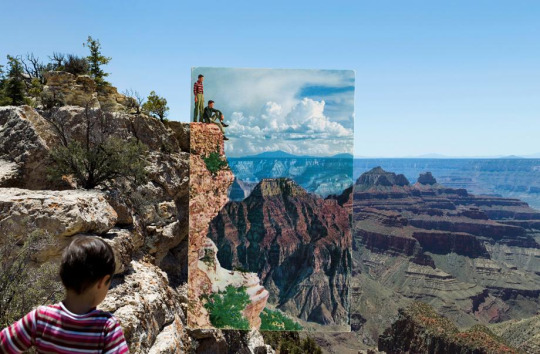 Caption: Two boys with striped shirts, Bright Angel Point, 2010. Inset: Postcard, photographer unknown, no date. From Reconstructing the View: The Grand Canyon Photographs of Mark Klett and Byron Wolfe
