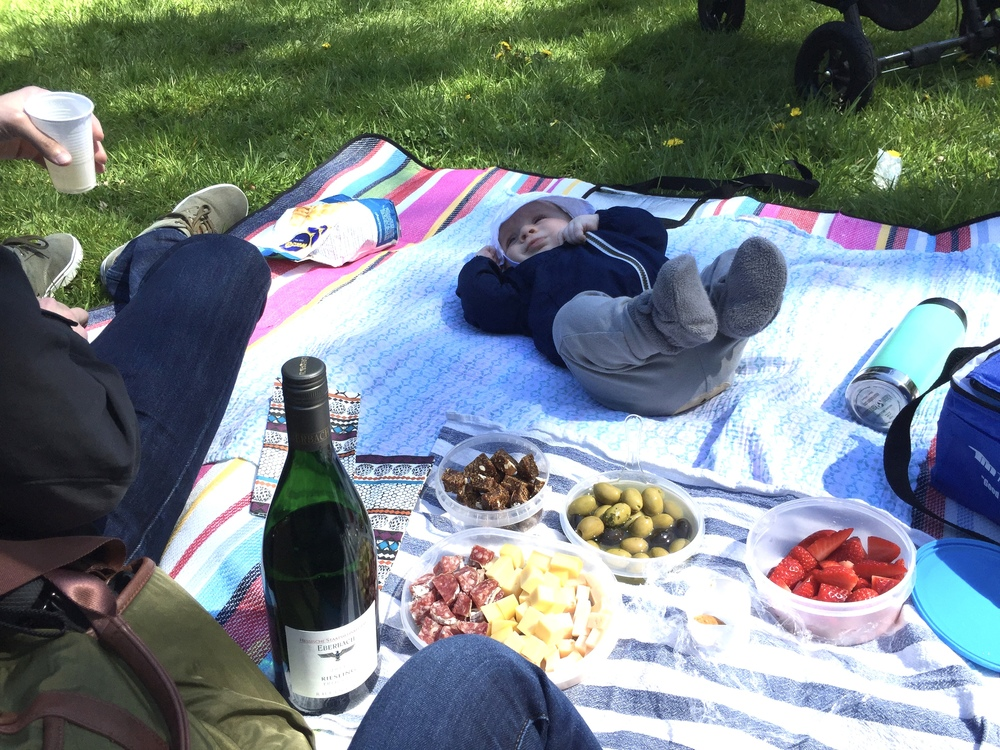 Picnicking with the boys in Aachen's Stadspark on a beautiful, spring day.