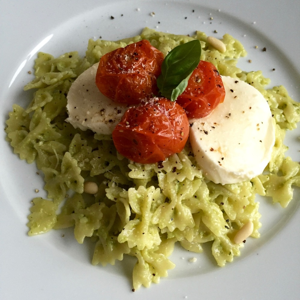 Creamy Pesto Pasta from She Wears Many Hats with Mozzarella and Roasted Cherry Tomatoes