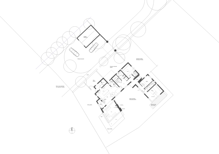 Site Plan of Proposed House & Boat House - Courtyard Opening to the Views and Sun.