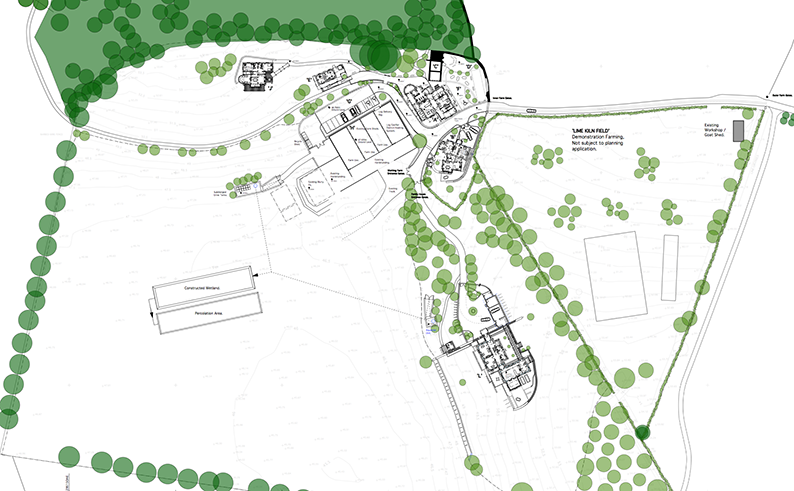 Rock Farm site plan at Slane showing all six straw bale buildings.