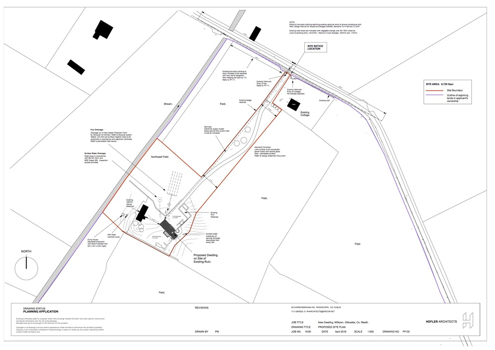 Proposed site plan showing existing farm ruins