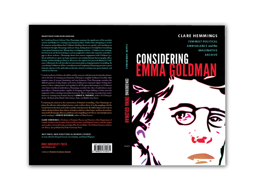 Illustration and back cover for  Considering Emma Goldman  [Duke Press]