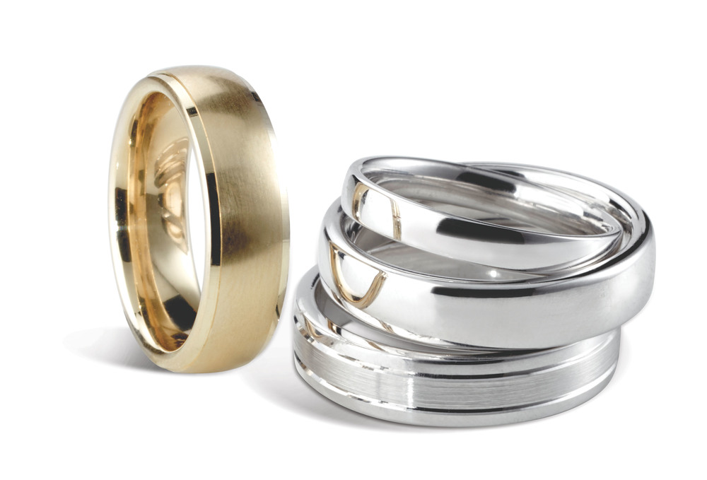 18ct yellow and white gold wedding bands