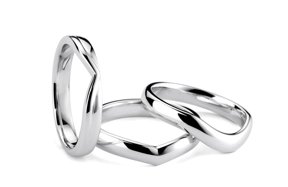 platinum shaped wedding bands made to fit your engagement ring