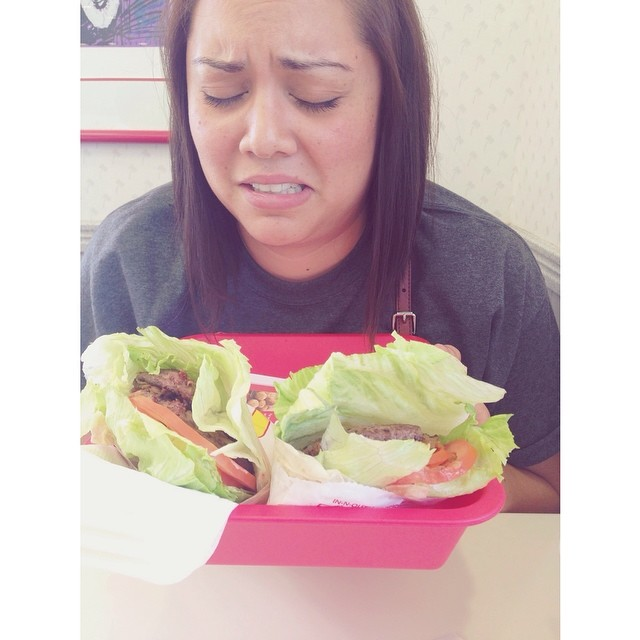 We discovered that we could indeed have In N Out,   albeit without the bun, cheese, or special sauce. Thus the sad face.