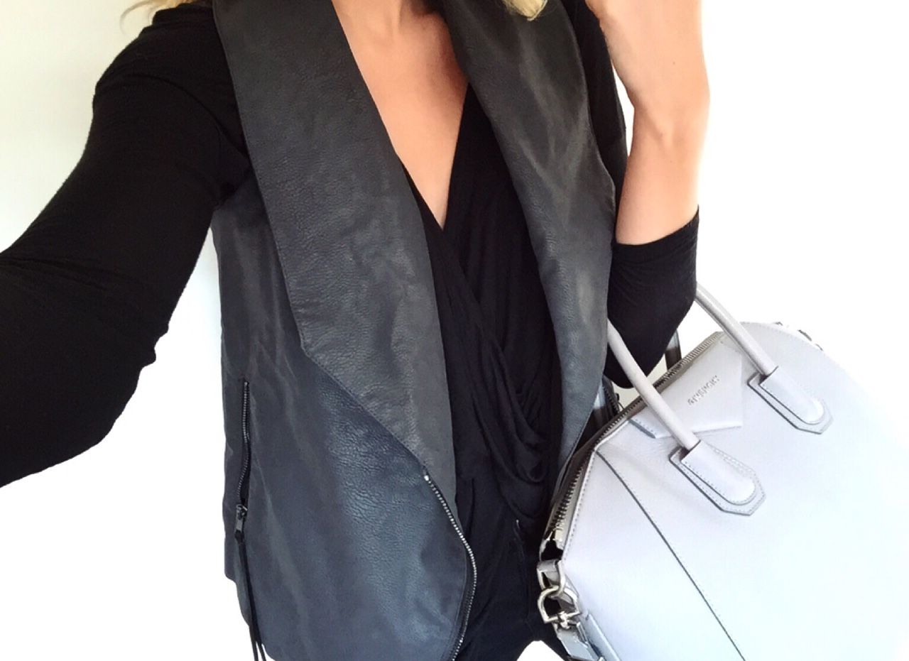Shades of Grey & Black Dark grey suede waistcoat from H&M, Black wrap top from Nasty Gal with the grey Givenchy Antigona bag. //SHE