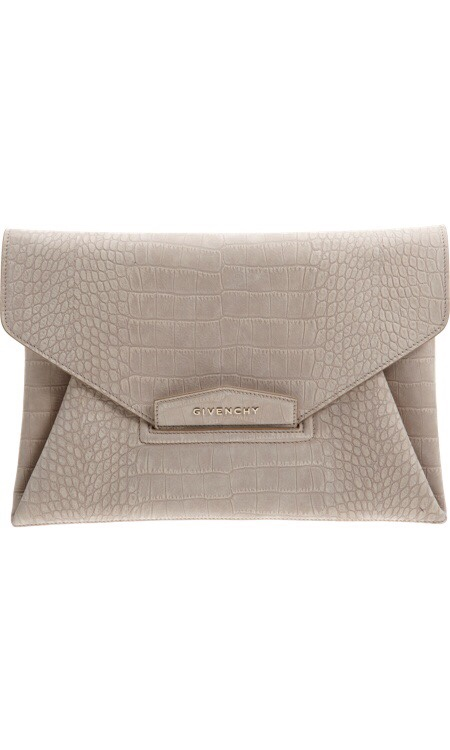 Croc- Stamped Love this nude Givenchy Croc-Stamped Antigona Envelope Clutch- Perfect to finish an outfit! //SHE