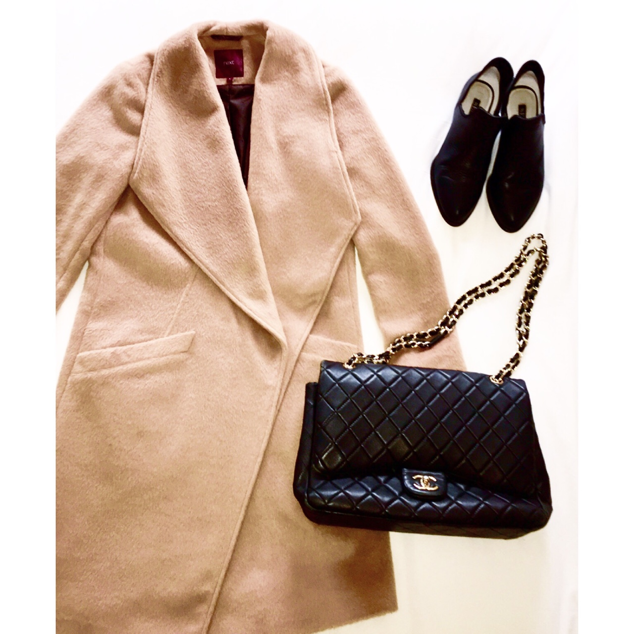 Autumn Essentials Camel wrap coat from Next, black booties from Senso and Chanel shoulder bag. //SHE