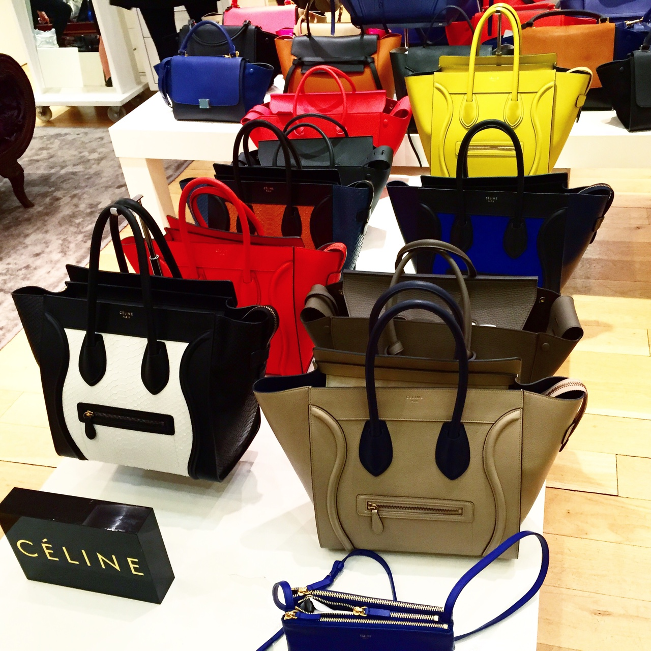 Feeling Céline Céline Bags for sale at the Cruise A/W Fashion Show on Thursday night. My favourite styles were the khaki Tie Tote Bag, the black Mini Belt Tote Bag & the Classic Red Bag. //SHE
