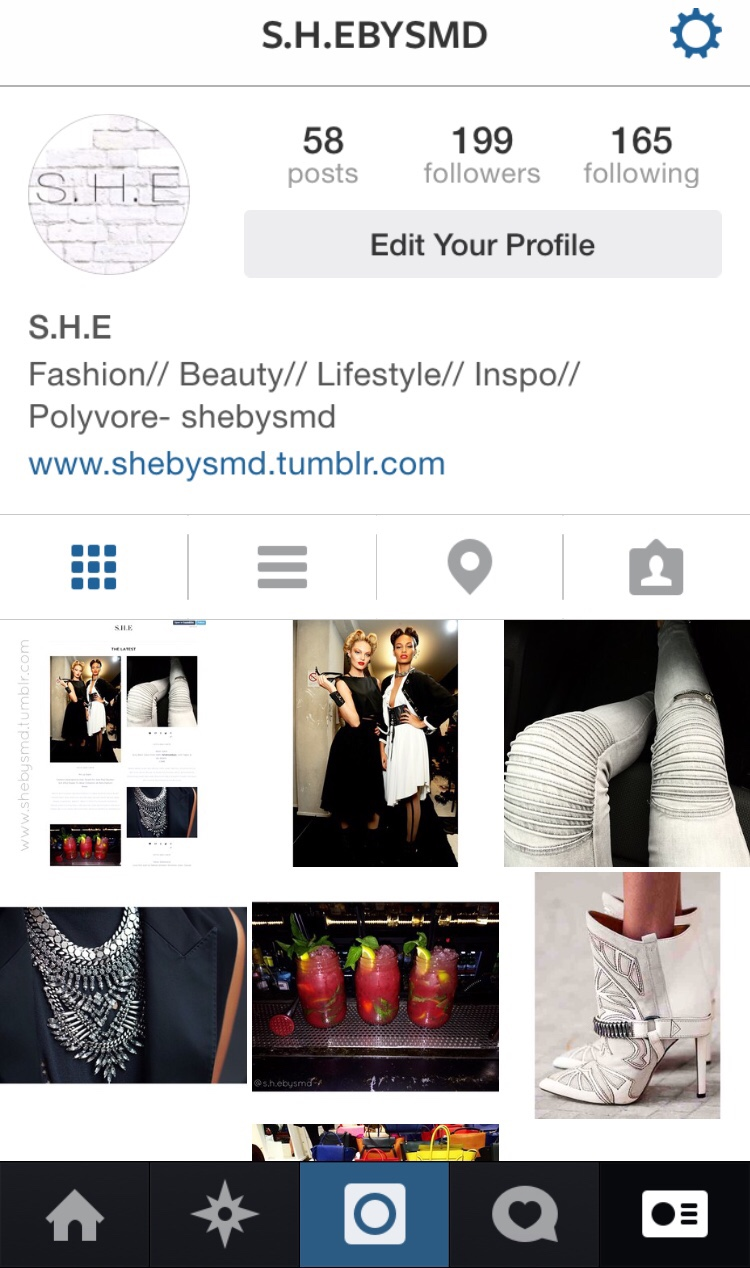 S.H.E Instagram Check out my Instagram for daily posts on fashion, beauty, lifestyle and inspiration @s.h.ebysmd //SHE