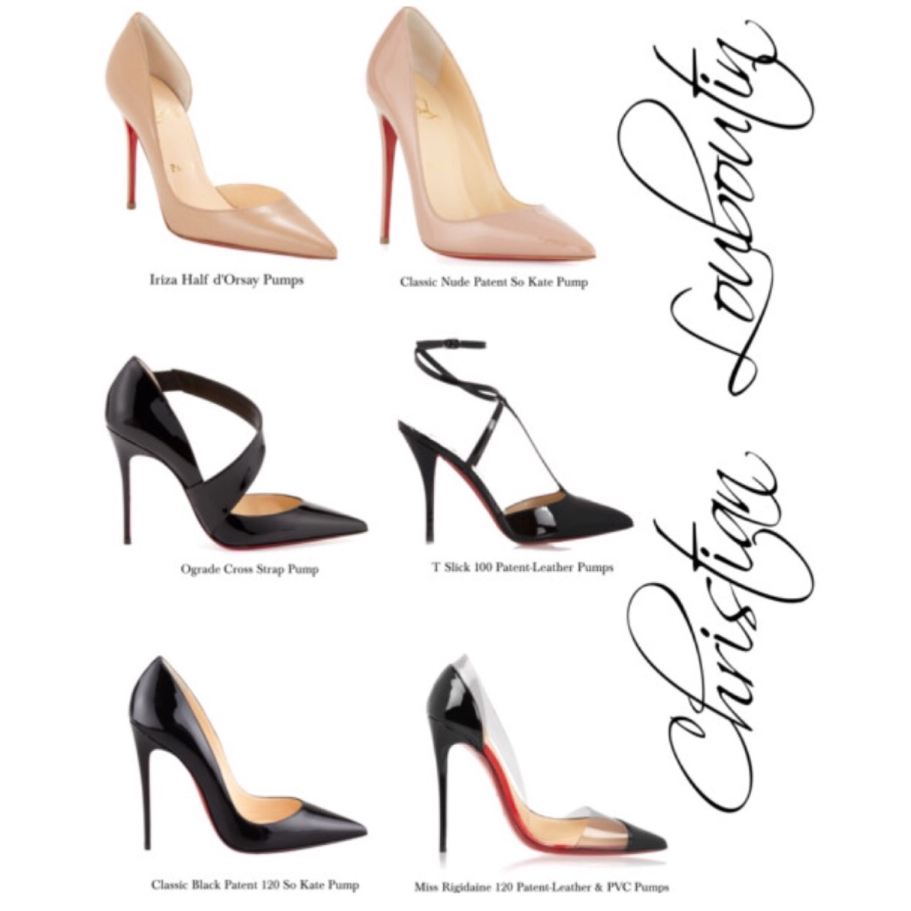 My Favourites Six of my Favourite Christian Louboutin styles. Love the Classic Nude & Black So Kate Pumps and also the strap and PVC details for casual & evening looks. These are definitely wardrobe staples! //SHE